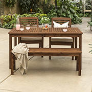 W. Trends 4-Pc. Acacia Wood Outdoor Dining Set - Dark Brown