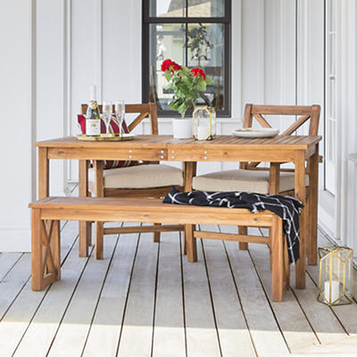 W. Trends 4-Pc. Acacia Wood Outdoor Dining Set - Brown