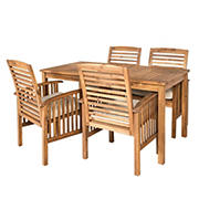W. Trends 5-Pc. Acacia Wood Outdoor Dining Set - Brown
