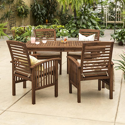 W. Trends 5-Pc. Acacia Wood Outdoor Dining Set - Dark Brown