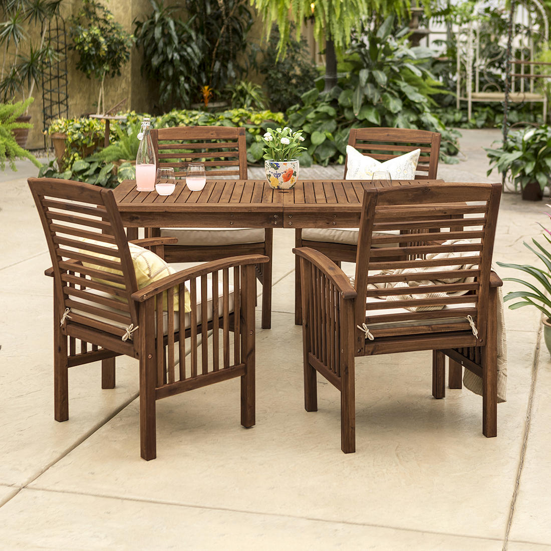 Tremendous W Trends 5 Pc Acacia Wood Outdoor Dining Set Dark Brown Machost Co Dining Chair Design Ideas Machostcouk