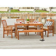 W. Trends 6-pc Outdoor Cliff Acacia Wood Dining Set - Brown