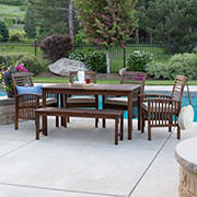 W. Trends 6-pc Outdoor Cliff Acacia Wood Dining Set - Dark Brown