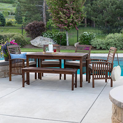 W. Trends 6-Pc. Acacia Wood Outdoor Dining Set - Dark Brown