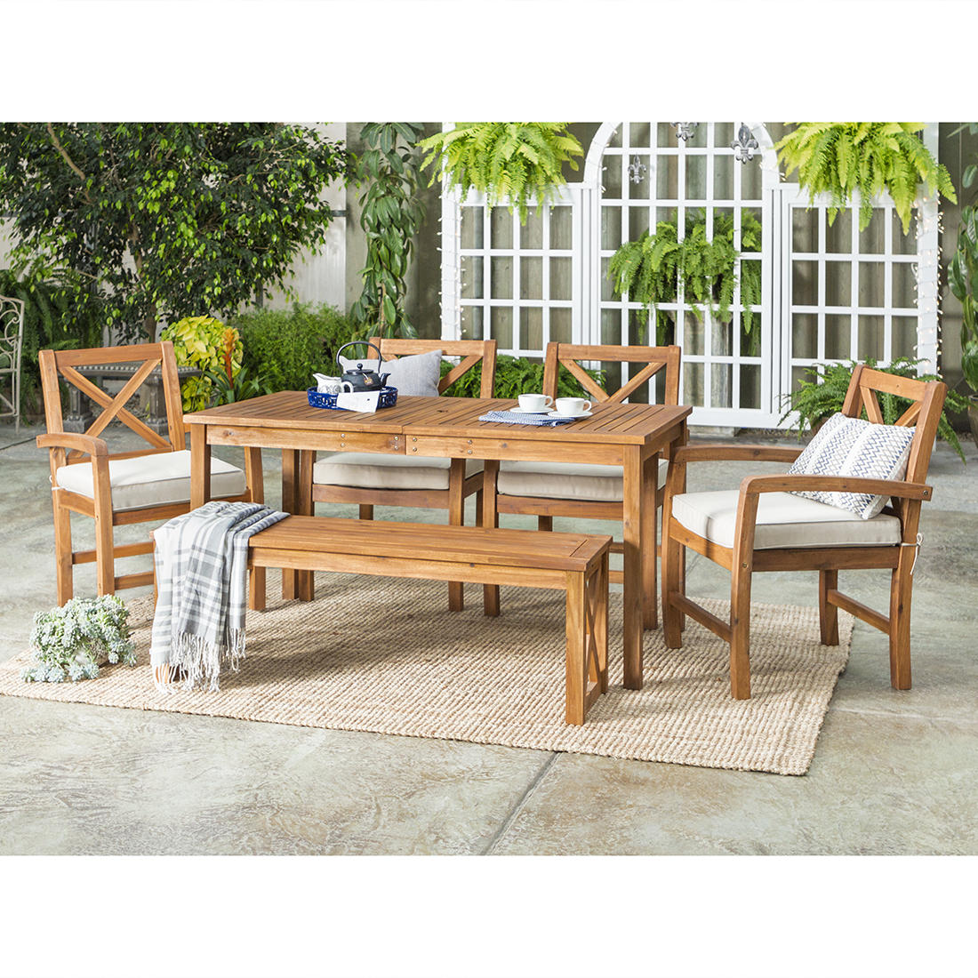 W. Trends 6 Pc. Acacia Wood Outdoor Dining Set   Brown
