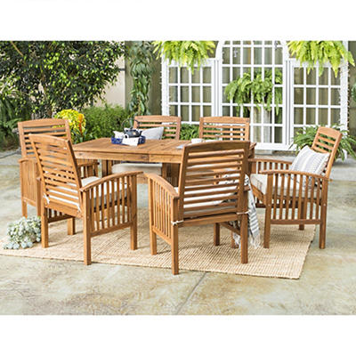 W. Trends 7-Pc. Acacia Wood Outdoor Dining Set - Brown