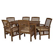 W. Trends 7-pc Outdoor Cliff Acacia Wood Dining Set - Brown