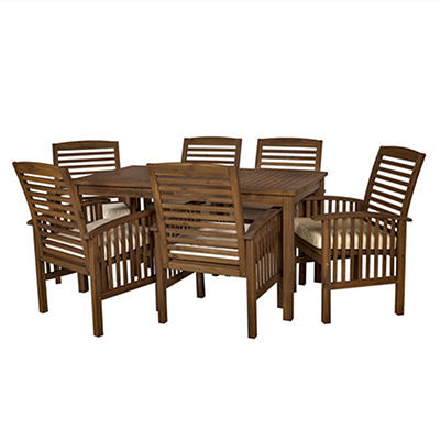 W. Trends 7-Pc. Acacia Wood Outdoor Dining Set - Dark Brown