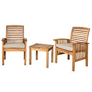 W. Trends 3-Pc. Outdoor Hunter Acacia Wood Chat Set - Brown