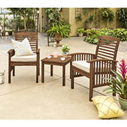 W. Trends 3-Pc. Acacia Wood Outdoor Chat Set - Dark Brown