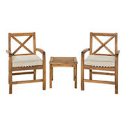 W. Trends 3-Pc. Acacia Wood Outdoor Chat Set - Brown