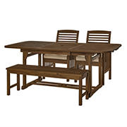 W. Trends 4-pc Outdoor Hunter Acacia Wood Dining Set - Dark Brown