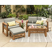 W. Trends 4-Pc. Outdoor Arbor Acacia Wood Deep Seated Chat Set
