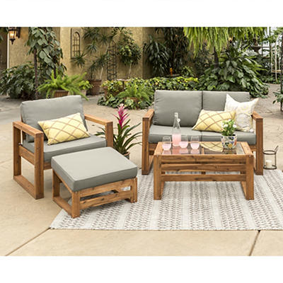 W. Trends 4-Pc. Acacia Wood Outdoor Chat Set - Gray