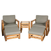 W. Trends 5-Pc. Acacia Wood Outdoor Chat Set