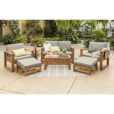 W. Trends 6-Pc. Acacia Wood Outdoor Chat Set - Gray