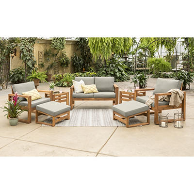 W. Trends 7-Pc. Acacia Wood Outdoor Chat Set - Gray