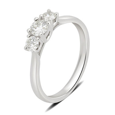 1.00 ct. t.w. 3-Stone Diamond Ring in 14k White Gold, Size 7
