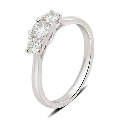 1.00 ct. t.w. 3-Stone Diamond Ring in 14k White Gold, Size 10