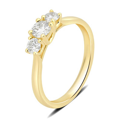 1.00 ct. t.w. 3-Stone Diamond Ring in 14k Yellow Gold, Size 6.5