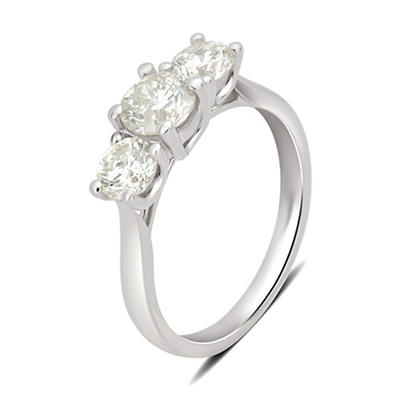 1.50 ct. t.w. 3-Stone Diamond Ring in 14k White Gold, Size 5