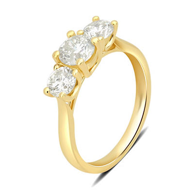 1.50 ct. t.w. 3-Stone Diamond Ring in 14k Yellow Gold, Size 10.5
