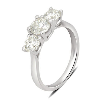2.00 ct. t.w. 3-Stone Diamond Ring in 14k White Gold, Size 5