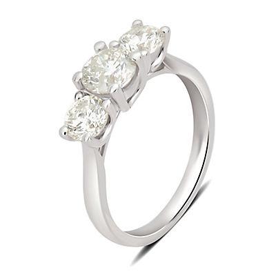 2.00 ct. t.w. 3-Stone Diamond Ring in 14k White Gold, Size 10.5