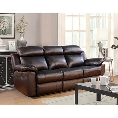 Abbyson Living Braylen Top-Grain Leather Reclining Sofa - Brown