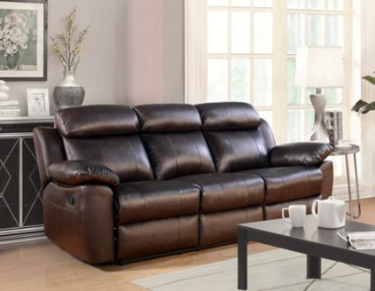 Abbyson living braylen top grain leather reclining sofa brown