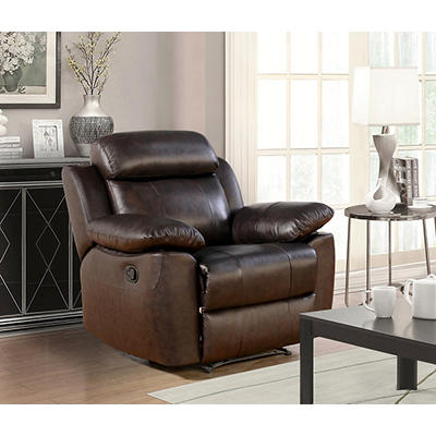 Abbyson Living Braylen Top-Grain Leather Recliner - Brown