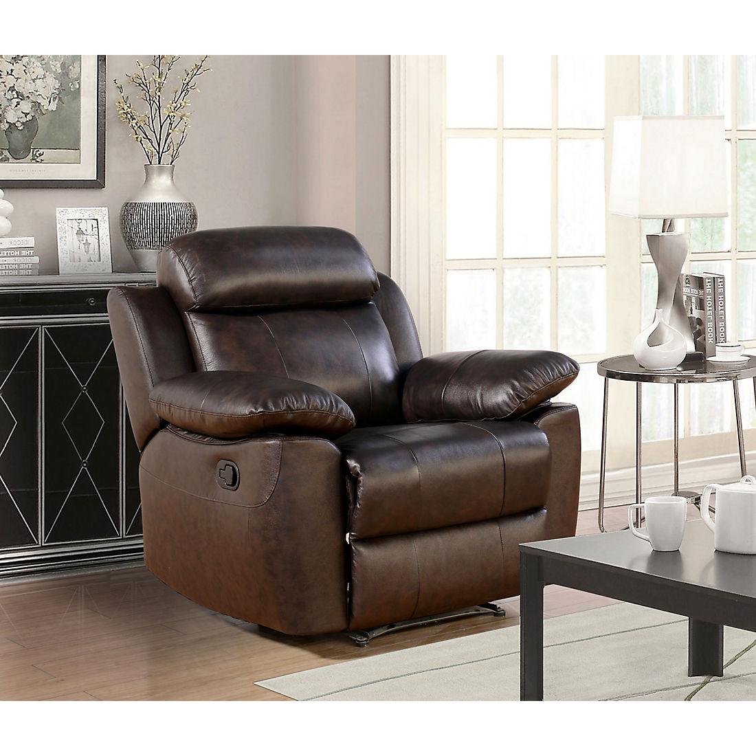 Groovy Abbyson Living Braylen Top Grain Leather Recliner Brown Ibusinesslaw Wood Chair Design Ideas Ibusinesslaworg