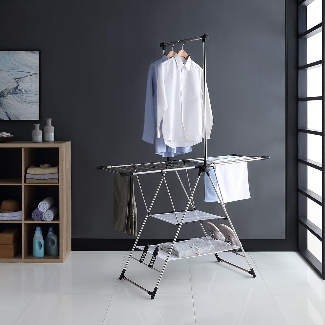 1 Ridering Home Folding Clothes Hanger Wall Mounted