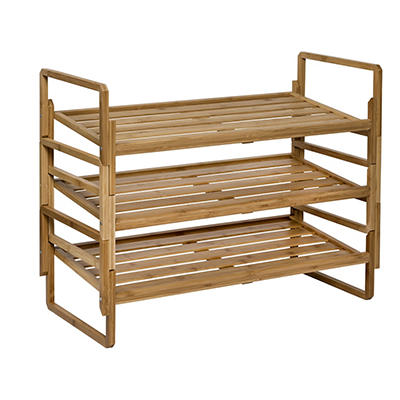 Honey-Can-Do 3-Tier Stackable Bamboo Shoe Rack