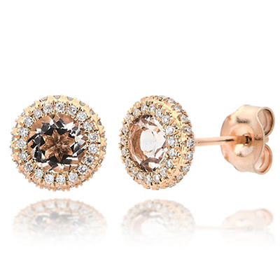 1.25 ct. t.w. Morganite and Diamond Accent Stud Earrings in 14k Rose G