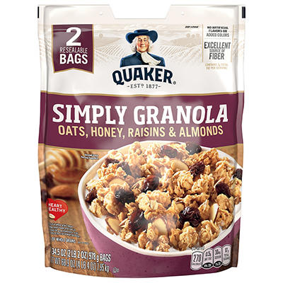 Quaker Simply Granola Oats, Honey, Raisins and Almonds, 2 pk./34.5 oz.