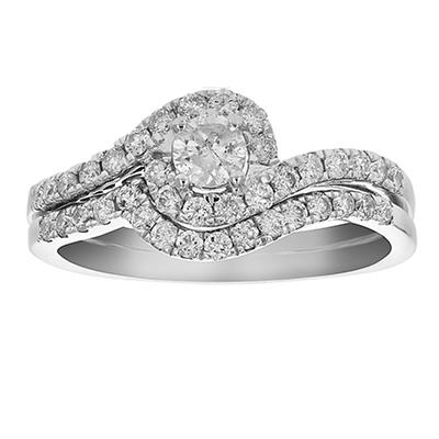 Amairah .75 ct. t.w. Diamond Channel Prong Engagement Ring and Wedding Band in 14k White Gold, Size 7