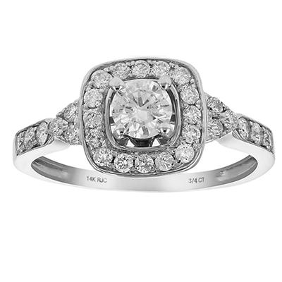 Amairah .75 ct. t.w. Diamond Halo 4-Prong Engagement Ring in 14k White Gold, Size 5.5
