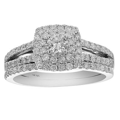 Amairah 1.00 ct. t.w. Diamond Prong Set Engagment Ring and Wedding Band in 14k White Gold, Size 7.5