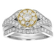 Amairah 1.00 ct. t.w. Diamond Engagement Bridal Ring Set in 14k Two-Tone Gold, Size 5.5