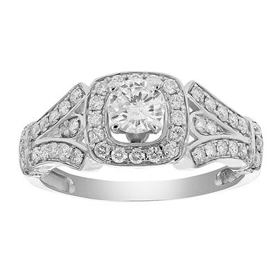 Amairah 1.00 ct. t.w. Diamond Halo 4-Prong Engagement Ring in 14k White Gold, Size 5
