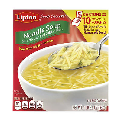 Lipton Soup Secrets Noodle Soup Mix, 5 pk./4.5 oz.