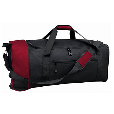 """Travelers Club 32"""" Rolling Duffel - Black and Red"""