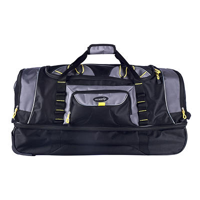 """Travelers Polo & Racquet Club 30"""" 2-Section Rolling Duffel - Black and"""