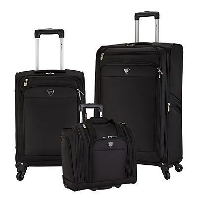 Travelers Club Monterey 3-Pc. Luggage Set - Black