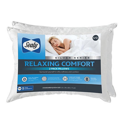 Sealy Silver Series Relaxing Comfort Pillow, 2 pk.