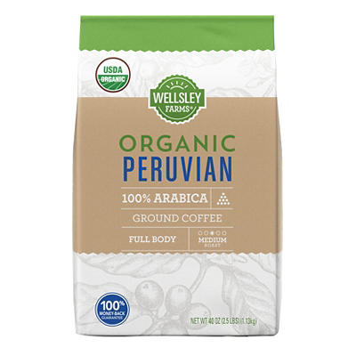 Wellsley Farms Organic Peruvian Ground Coffee, 40 oz.