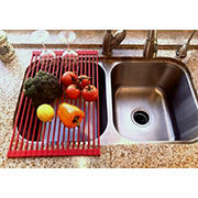 True & Tidy Over Sink Roll-Up Drying Rack - Red