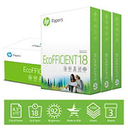 HP EcoFFICIENT18 Copy Paper, 93 Brightness, Letter, 3 Reams, 1,500 Sheets/Carton