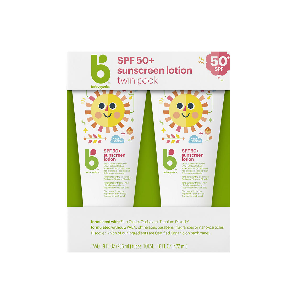 graphic regarding Babyganics Coupon Printable called Babyganics Sunscreen SPS50 Lotion, 2 pk./8 oz.
